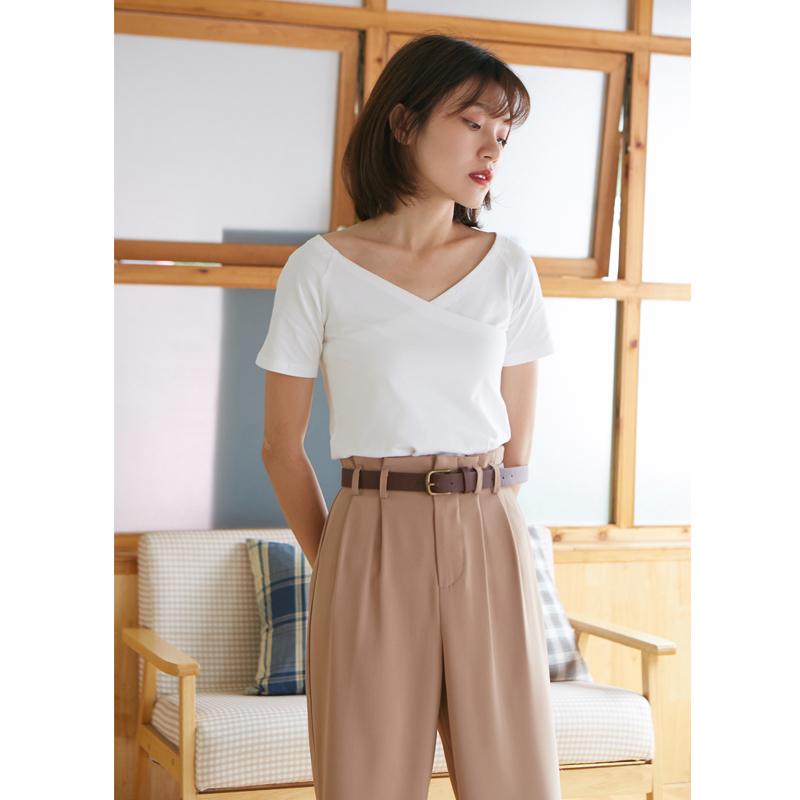 卡农自制 韩范2018夏季女装新款纯色不规则V领短袖T恤/上衣 3色