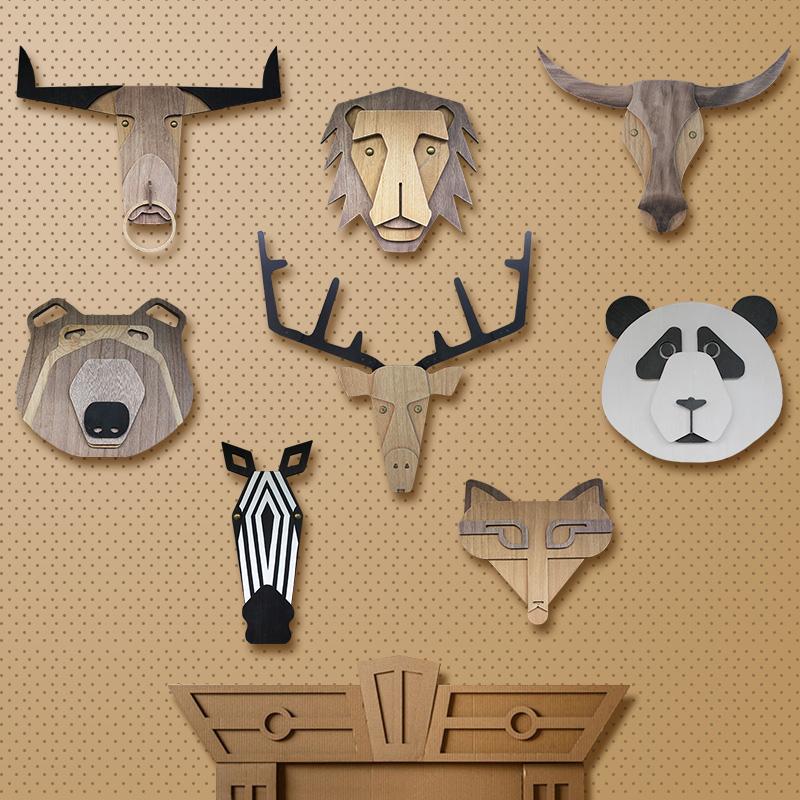 動物の頭飾り3 dライオンパンダ鹿頭牛頭背景壁飾りアメリカ式家庭創意子供北欧