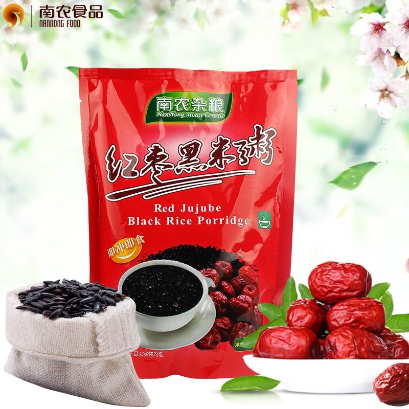 优质南农红枣黑米粥350g方便速食饱腹代餐粥五谷杂粮健康早餐年货