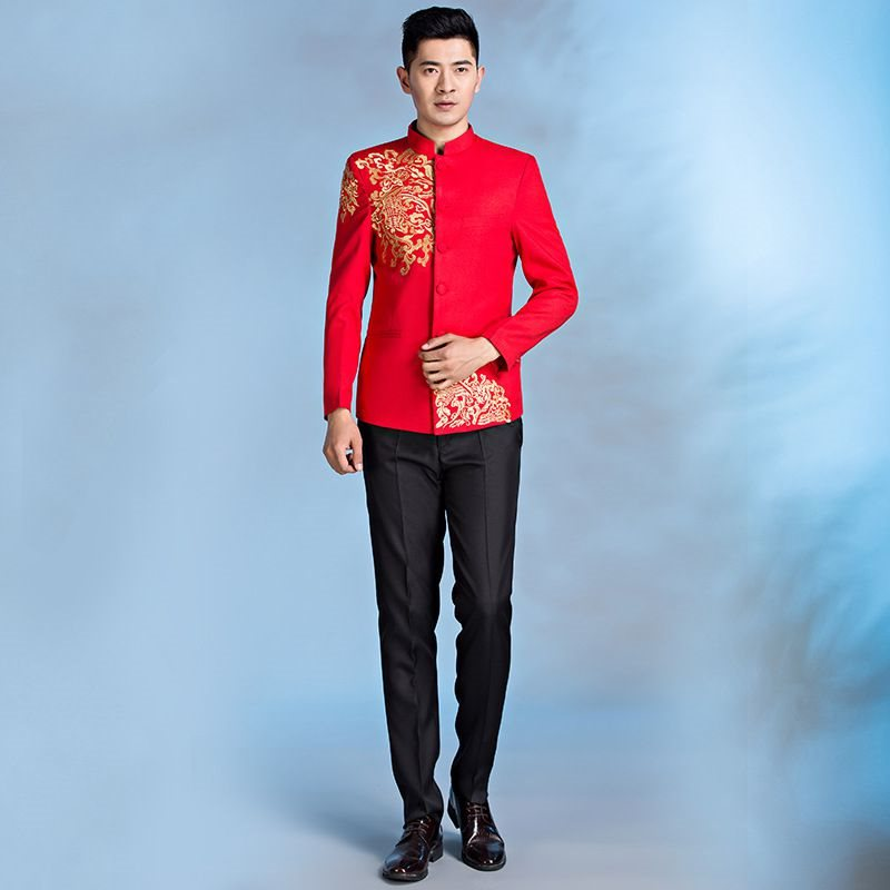 High grade Zhongshan costume performance suit new style of mens slim body embroidery suit stage host suit Chinese style Wedding NEW