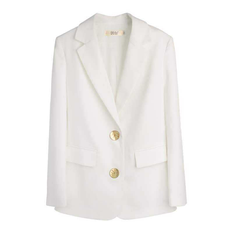 Small suit coat womens Korean version loose chic style metal button suit top customized heavy texture womens fashion