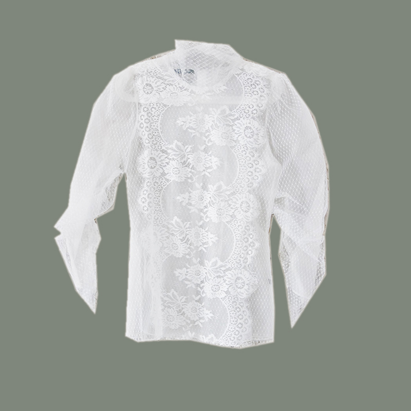Cut out lace top high collar white shirt womens Lolita 9 / 3 sleeve retro transparent fairy spring and Autumn New