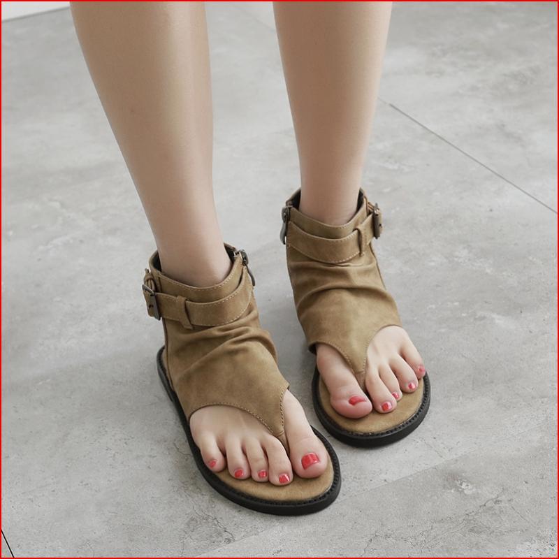 夏季罗马夹趾黑色凉鞋复古真皮低跟皮带扣女鞋舒适平底高帮人字鞋