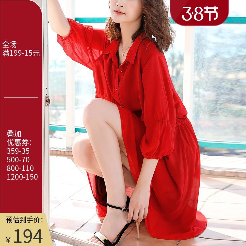 原创2021新款桔梗复古大码红色衬衫裙子度假七分袖雪纺连衣裙春装