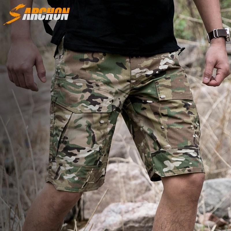 战术裤男防水夏迷彩裤半裤工装短裤特种兵军迷修身户外军裤
