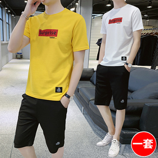 休闲运动套装男士2020夏季韩版潮流短袖t恤两件套青少年薄款夏装T