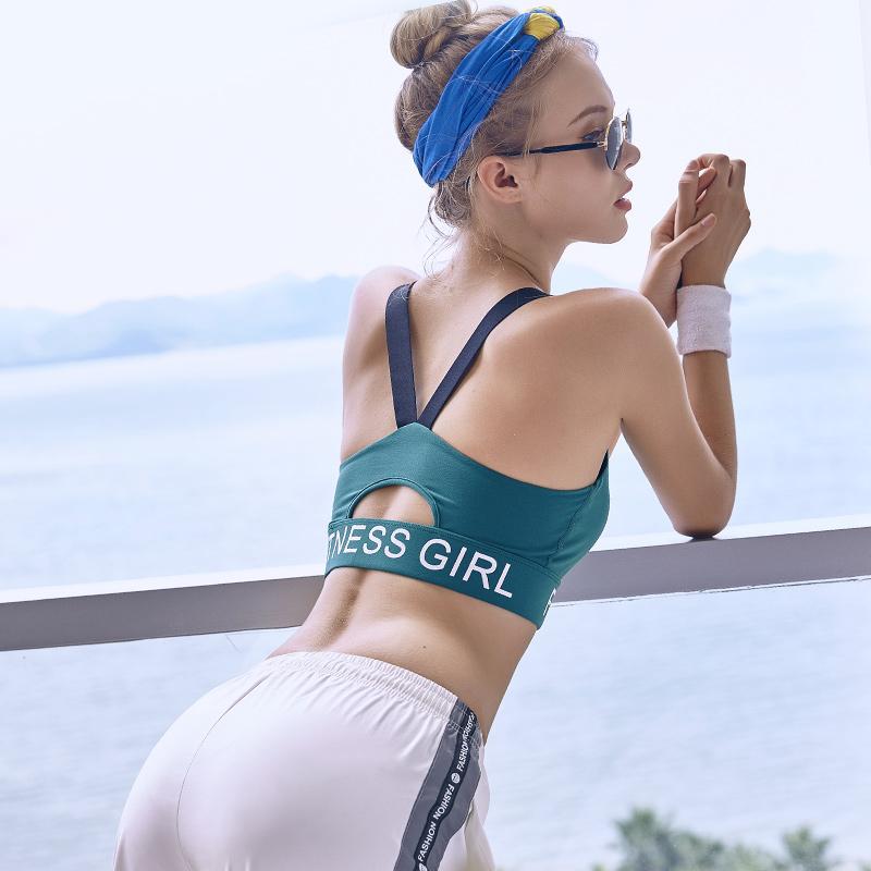 运动内衣女夏跑步防震美背瑜伽背心无钢圈薄款聚拢高强度健身文胸