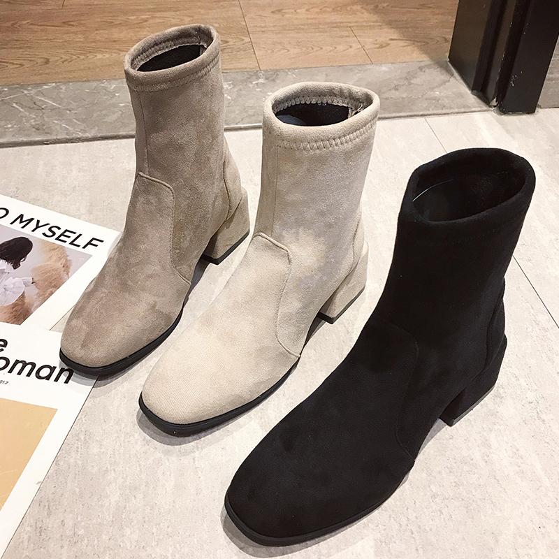 鞋子女2019秋冬新款粗跟中筒靴韩版方头短靴高跟马丁靴单靴女靴子