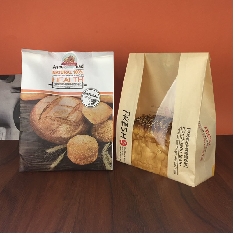 450 grams of toast bags with windows, coated toast bags, kraft paper, French windows, bread and toast bags 2500