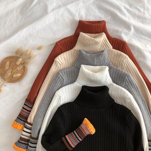 高领针织衫女加绒加厚秋冬季毛衣韩版百搭修身保暖打底衫内搭上衣