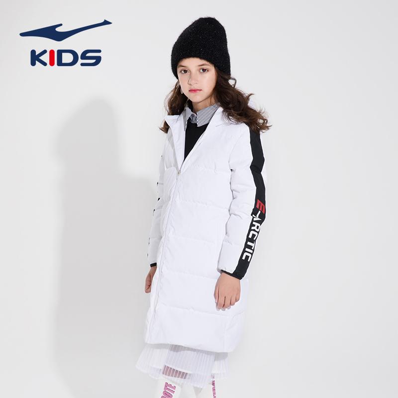 Hongxing Erke autumn and winter girls down jacket fashion warm sports jacket windproof medium length jacket