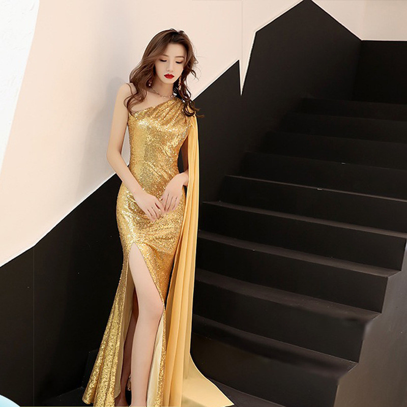 Fishtail evening dress show thin dress noble banquet long style show dress temperament sexy bag hip sequins yellow white