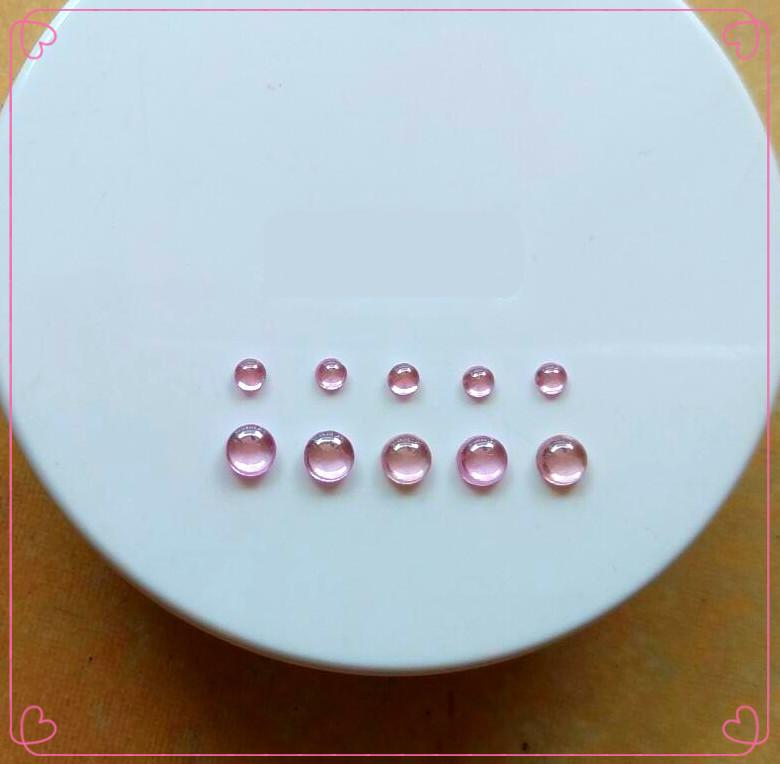 粉红锆石圆形平底素面光面裸石戒面镶嵌戒指彩宝小配石