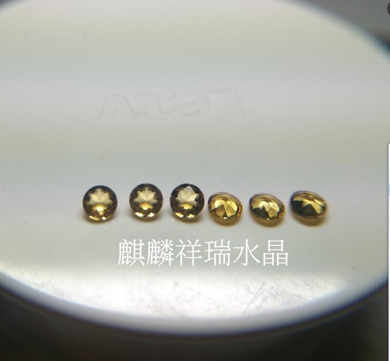 黄水晶裸石戒面彩宝圆形尖底刻面天然工压电水晶镶嵌首饰配石小钻