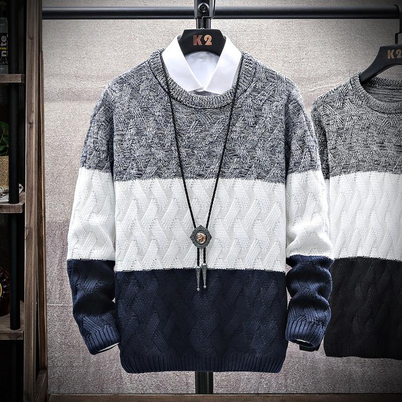 毛衣男士2021秋冬季长袖t恤加厚针织打底衫韩版潮流秋装上衣服男