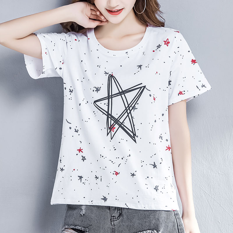 Loose white T-shirt womens short sleeve summer wear 2019 new top five pointed star creative printing pattern pure cotton