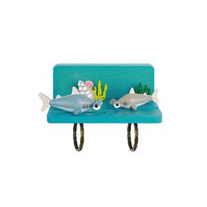 Jean台湾木质鲨鱼钥匙挂钩冰箱磁吸装饰送节日创意礼物壁饰品