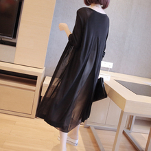 Ice silk knitted sweater woman summer medium and long Korean version loose sunscreen Chiffon cardigan with shawl sweater jacket