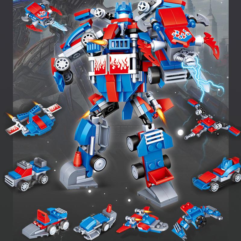 男性互換性の高いおもちゃの積み木は、ロボットの小型組立比木の簡単な箱に小さい積み木を組み立てることができます。