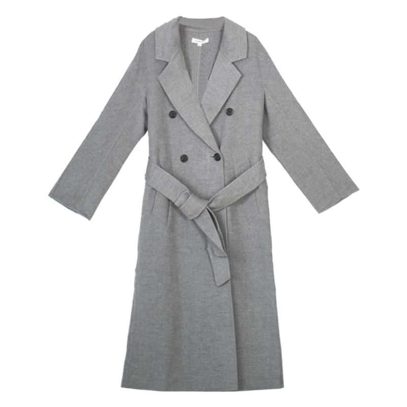 Qingmu shop smoky grey long wool coat