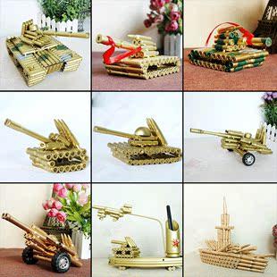 子弹壳工艺品摆件合金仿真金属飞机坦克大炮军事武器模型送军人礼