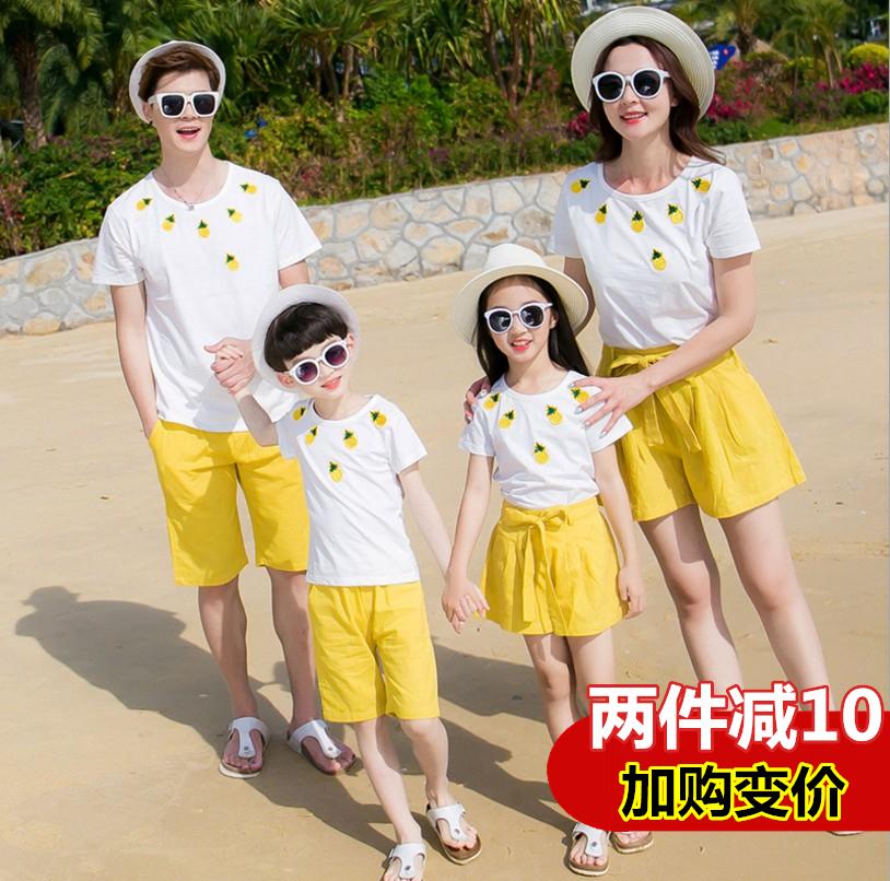 亲子套装夏2018新款韩版女童时尚菠萝刺绣水果两件套母女装全家装