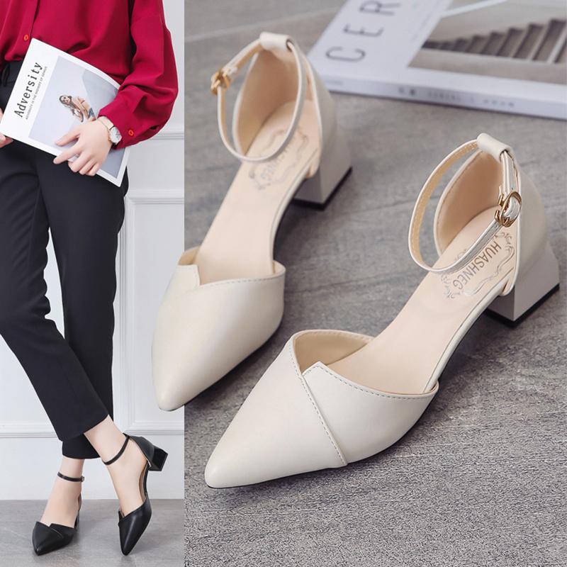 买三送一2019新款夏季包头凉鞋女仙女风中跟单鞋尖头女鞋粗跟高跟鞋子百搭