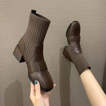 马丁靴女夏季薄款黑色短靴高帮厚底中筒机车靴子真皮骑士靴女ann