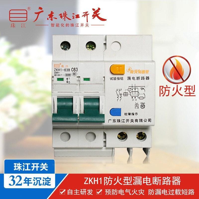 珠江开关 ZKH1 2P 63A 智能断路器 防火型 漏电空气开关 一件代发,可领取元淘宝优惠券