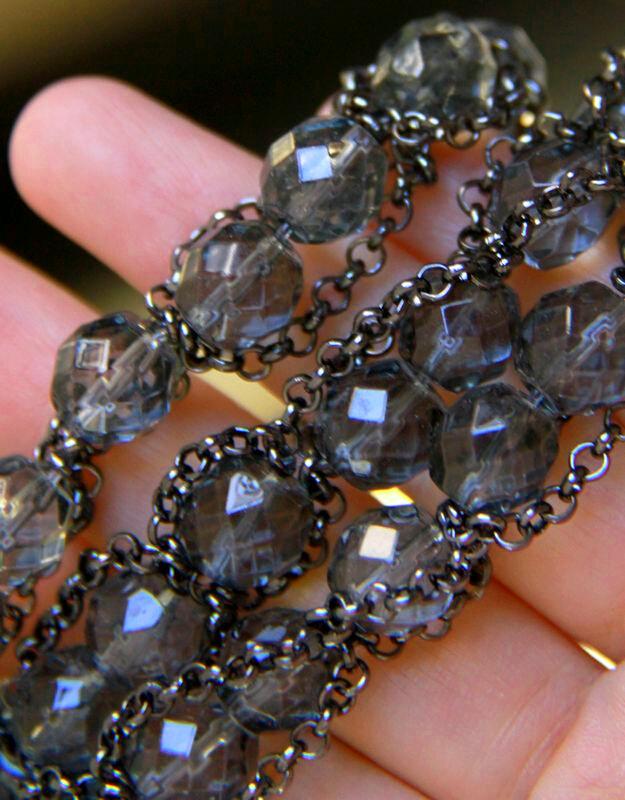 Black crystal glass 3 in 1 multi-layer texture Bracelet