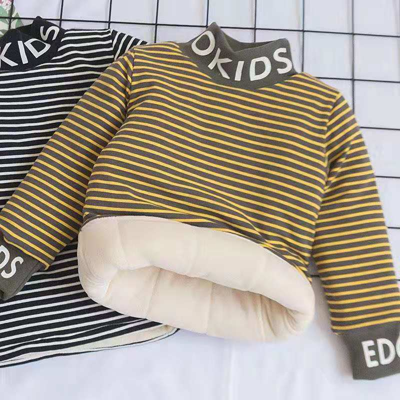 Boys and girls treasure one piece cashmere high collar set head cotton jacket liner T-shirt big childrens jacket with cotton and cashmere thickening warm base coat