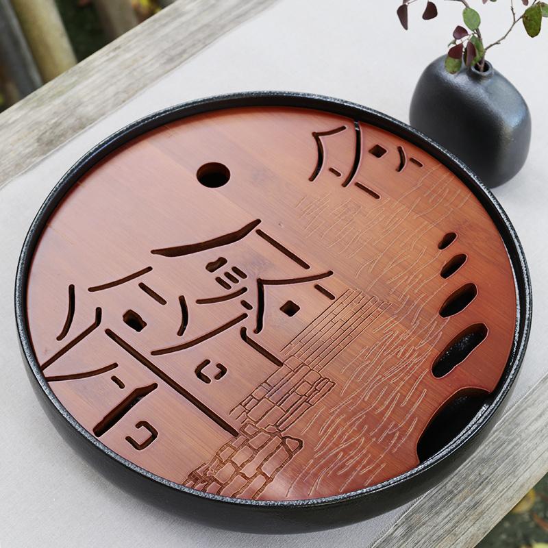 Керамика чаинка блюдо круглый магазин вода домой усилие чайный сервиз сухой пузырь чайная церемония вес бамбук лоток простой чай тайвань мини