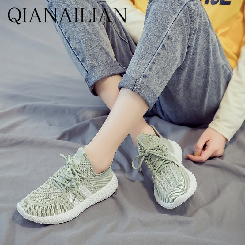 2020 flying mesh surface light sports shoes womens summer new casual and breathable students small white flat bottom trend
