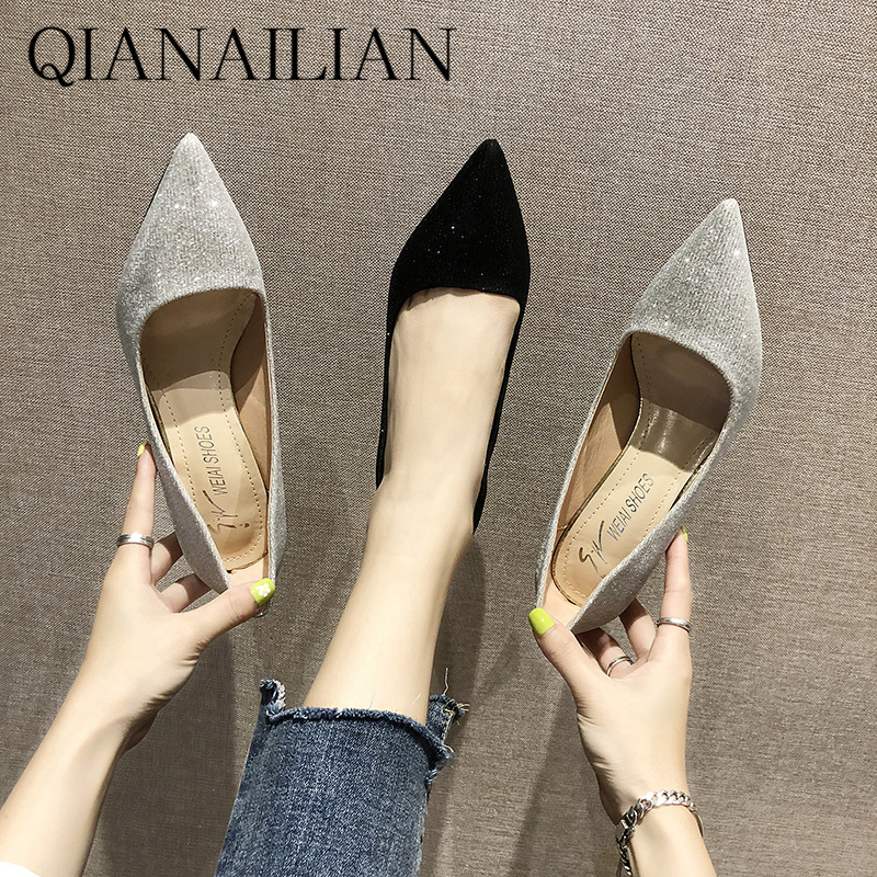 Autumn new mesh red breathable fashion pointed black cat high-heeled fairy slim heel professional single shoes