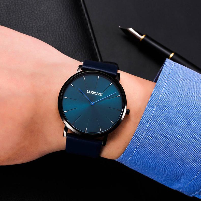2021新款超薄手表男学生潮流简约时尚石英表防水非机械真皮带男表