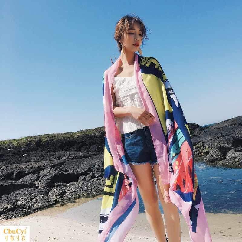民族风防嗮披肩海边度假裹裙泳衣披纱外搭沙滩巾多功能超大围巾女