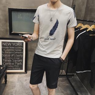 2018韩版夏季青年社会小伙短裤修身男士短袖T恤百搭运动两件套装
