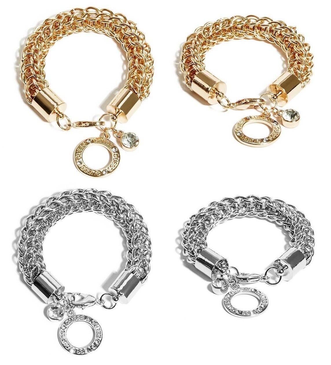 Guess盖尔斯银色金色圆形铰链轧花标志水钻小饰物挂件手镯