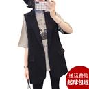 新款 外搭坎肩黑色马夹外套 西装 2020春秋季 马甲女士背心中长款 韩版