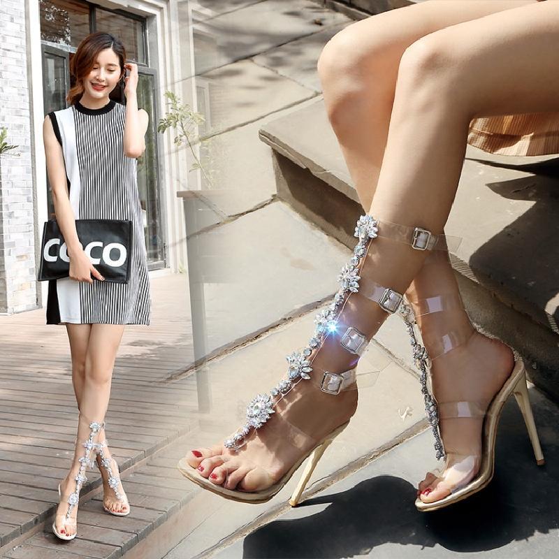 2018夏季外贸高跟细跟水钻夹脚金属链条欧美罗马露齿镶钻女凉鞋40