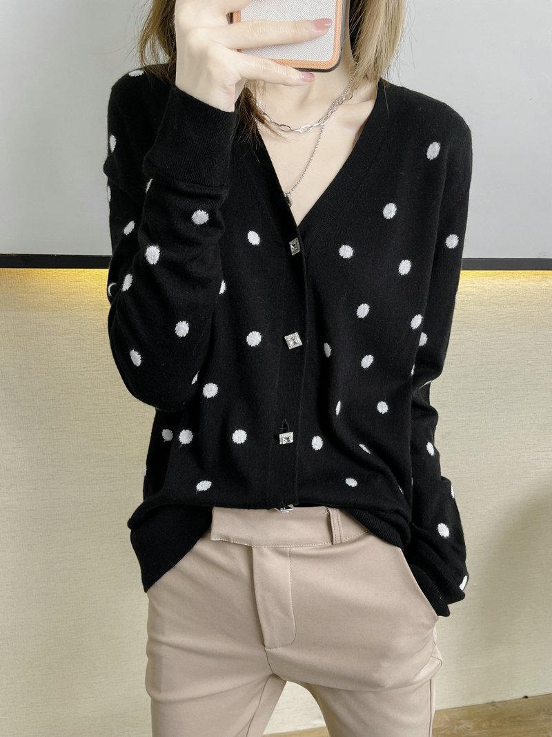 夏新款V领羊绒开衫波点长袖羊毛针织薄外套宽松慵懒拼色上衣大码