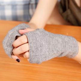 手套男女士秋冬保暖可爱韩版半指手套女短款学生写字漏指羊毛手套
