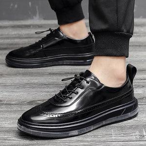 休闲皮鞋男子内增高鞋布洛克商务百搭6cm增高男鞋英伦风青年潮鞋