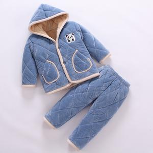 儿童法兰绒睡衣秋冬季女童男童珊瑚绒加厚款小孩子宝宝夹棉家居服