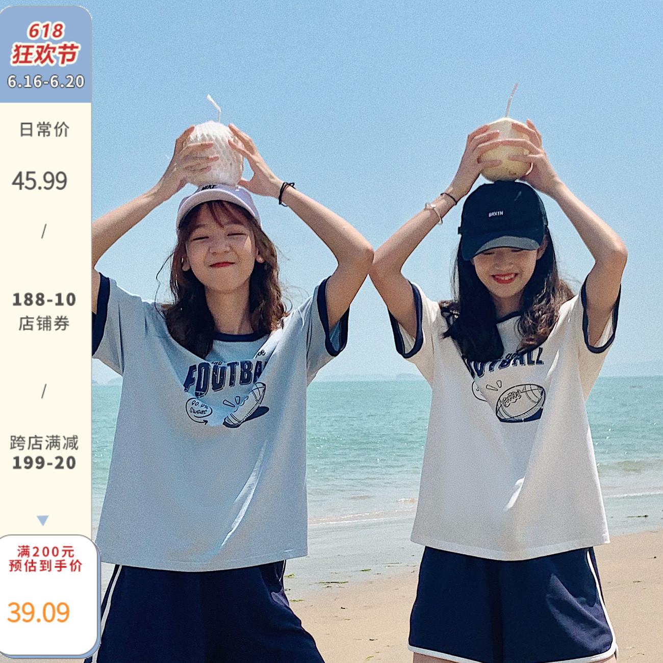 青蔷薇2021夏季新款圆领短袖潮t恤