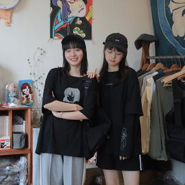 青蔷薇反光黑色短袖T恤女2020夏秋装新款韩版学生宽松上衣闺蜜装