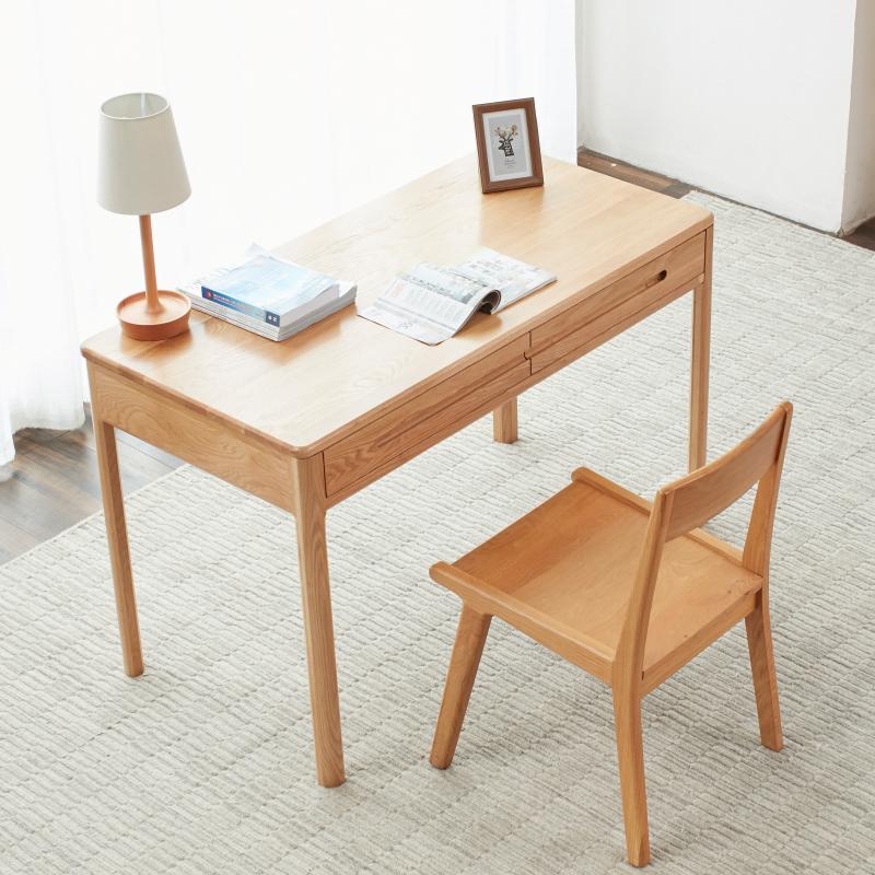 【自营澳洲海运】维莎日式实木书桌1.05米白橡木北欧电脑桌