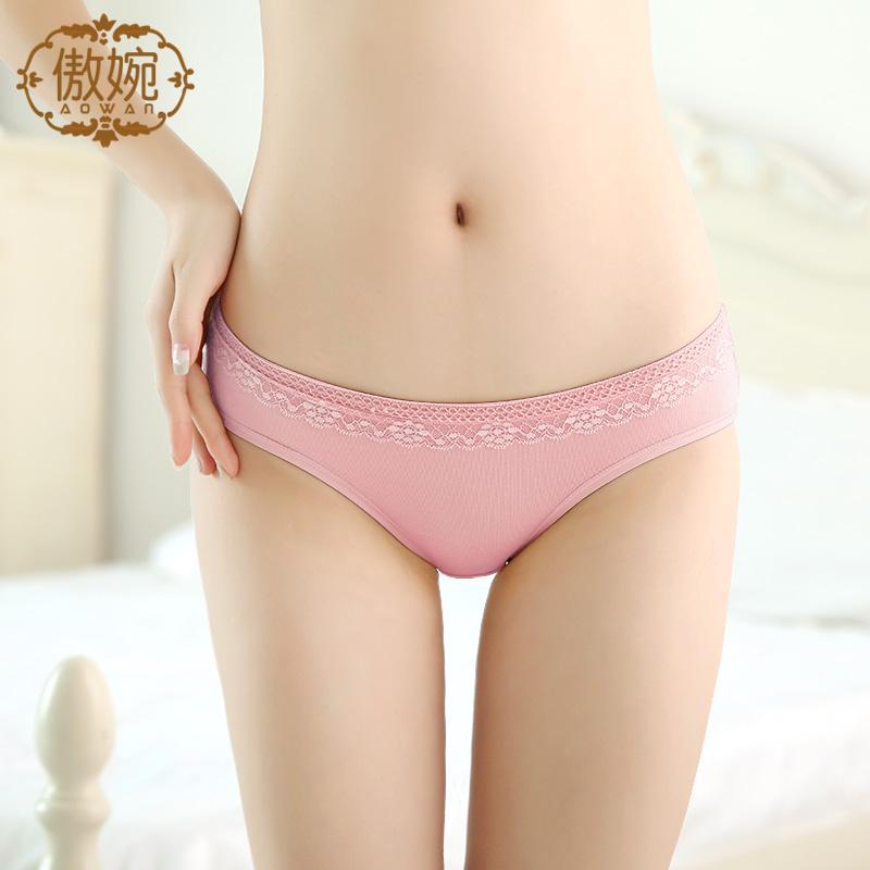 傲婉内裤女莫代尔低腰火辣蕾丝三角裤头纯色粉色黑色公主少女底裤