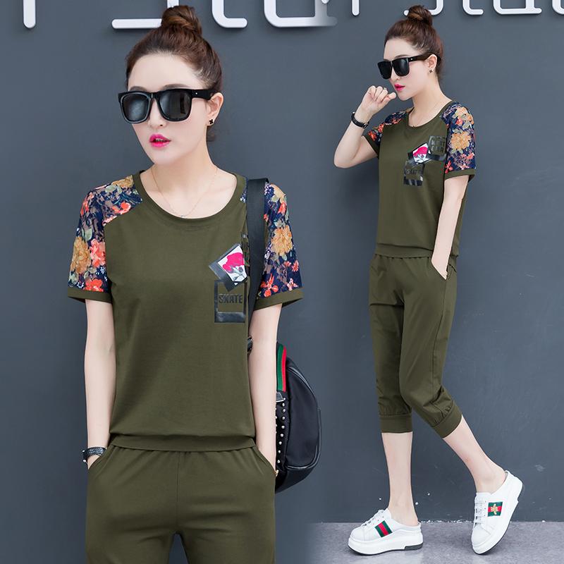 休闲运动服套装女2019夏季新款韩版时尚大码宽松短袖跑步两件套潮