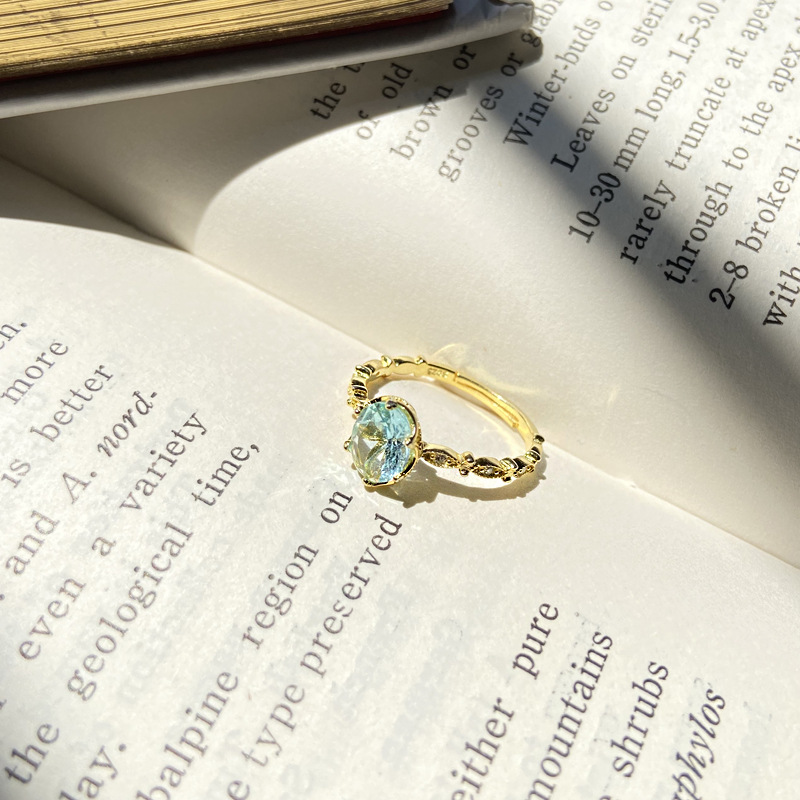 Japanese Light luxury egg shaped zircon Aquamarine S925 Sterling Silver Ring with adjustable opening for women